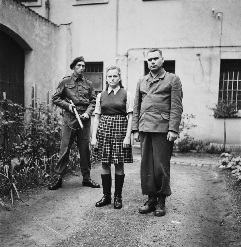 Irma Grese and Josef Kramer in prison in Celle in August 1945