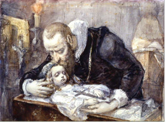 Jan Kochanowski with his dead daughter in a painting by Jan Matejko inspired by the poet's Threnodies Treny normal.jpg