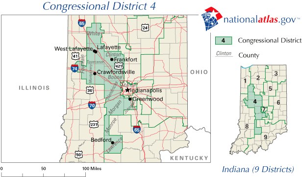 FileUnited States House Of Representatives Indiana District - Indiana in us map