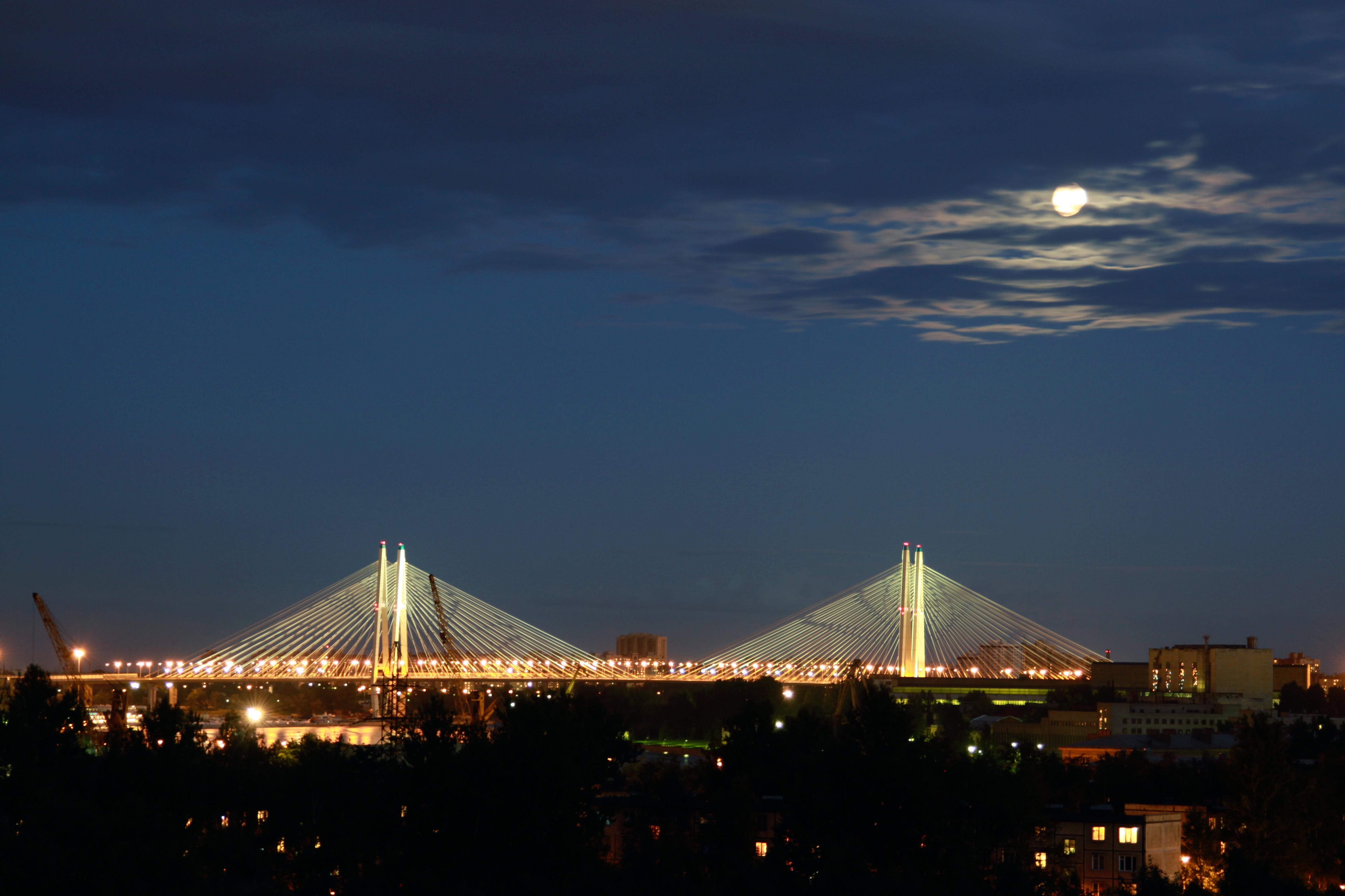 The first cable-stayed bridge of St. Petersburg - Bolshoy Obukhovsky Bridge