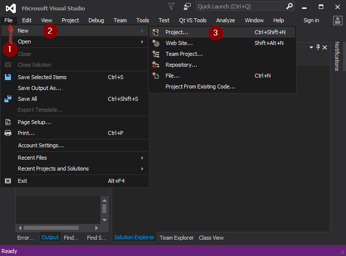 Visual Studio 2015 creating new project .png