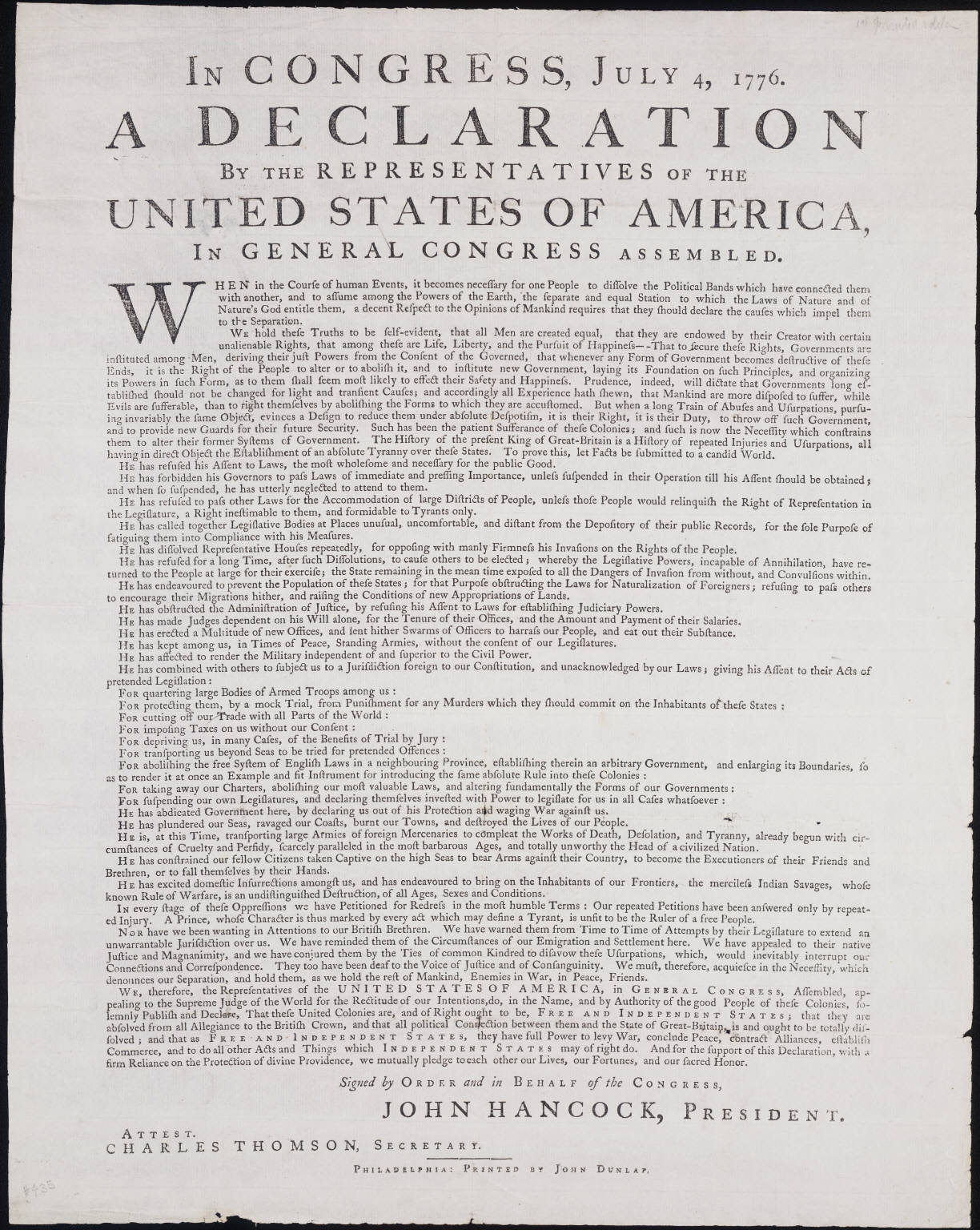 Why Does The Declaration Of Independence Article Attached On