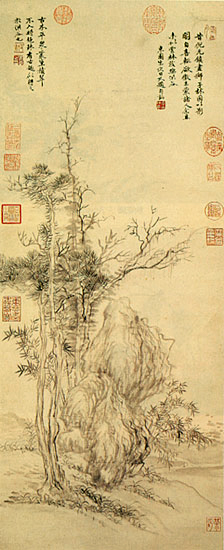 Fichier:Yun Shouping, Old Trees and Bamboo after Ni Zan.jpg