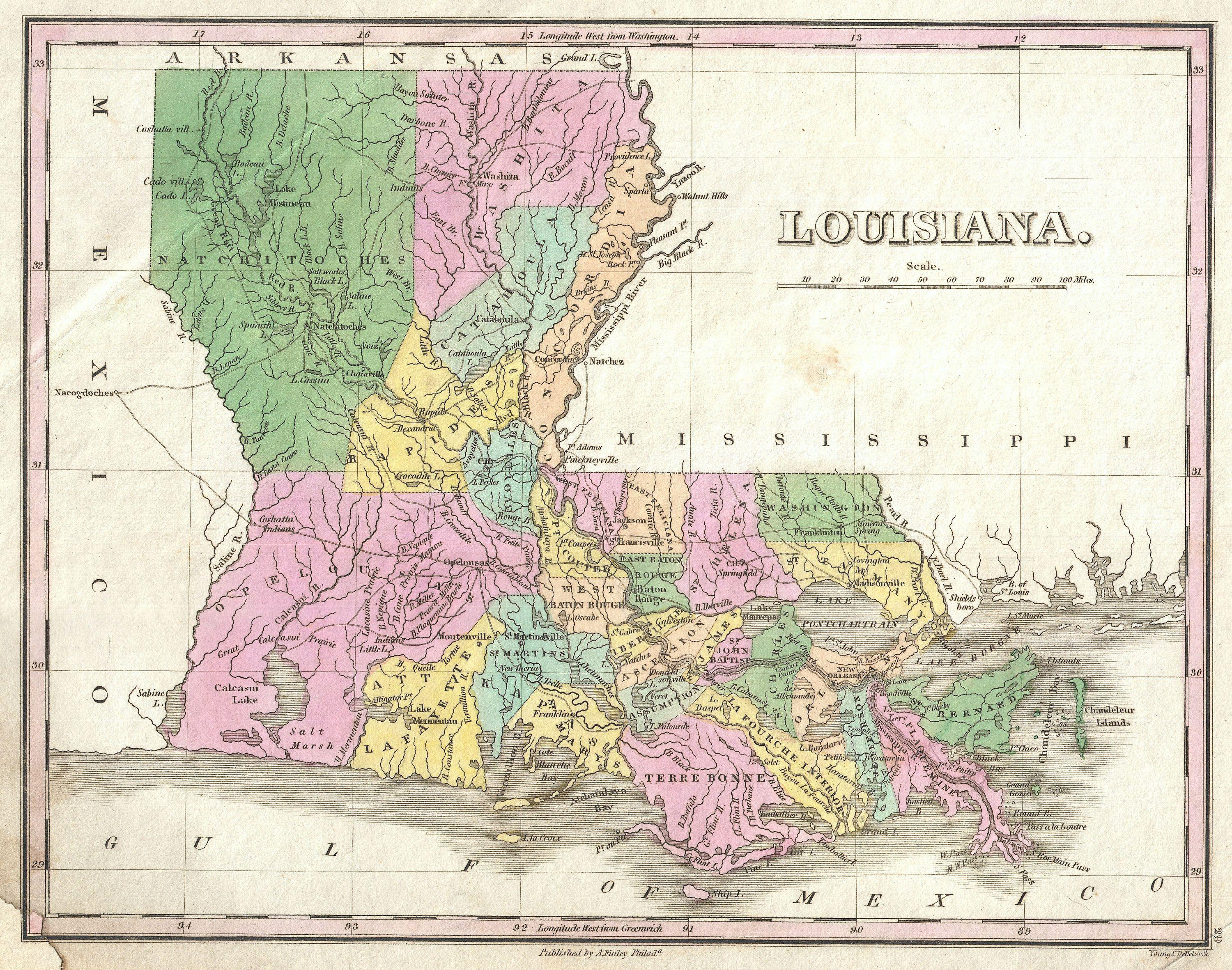Current Map Of Louisiana.File 1827 Finley Map Of Louisiana Geographicus Louisiana Finley