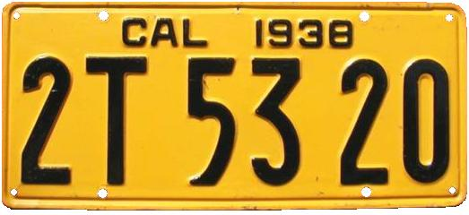 California License Plate History >> File 1938 California License Plate 2t 53 20 Jpg Wikipedia