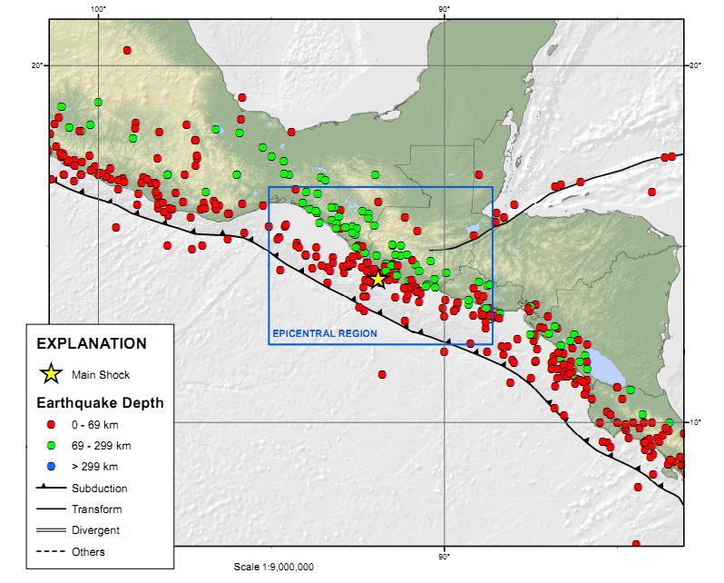 Guatemala Earthquake Map