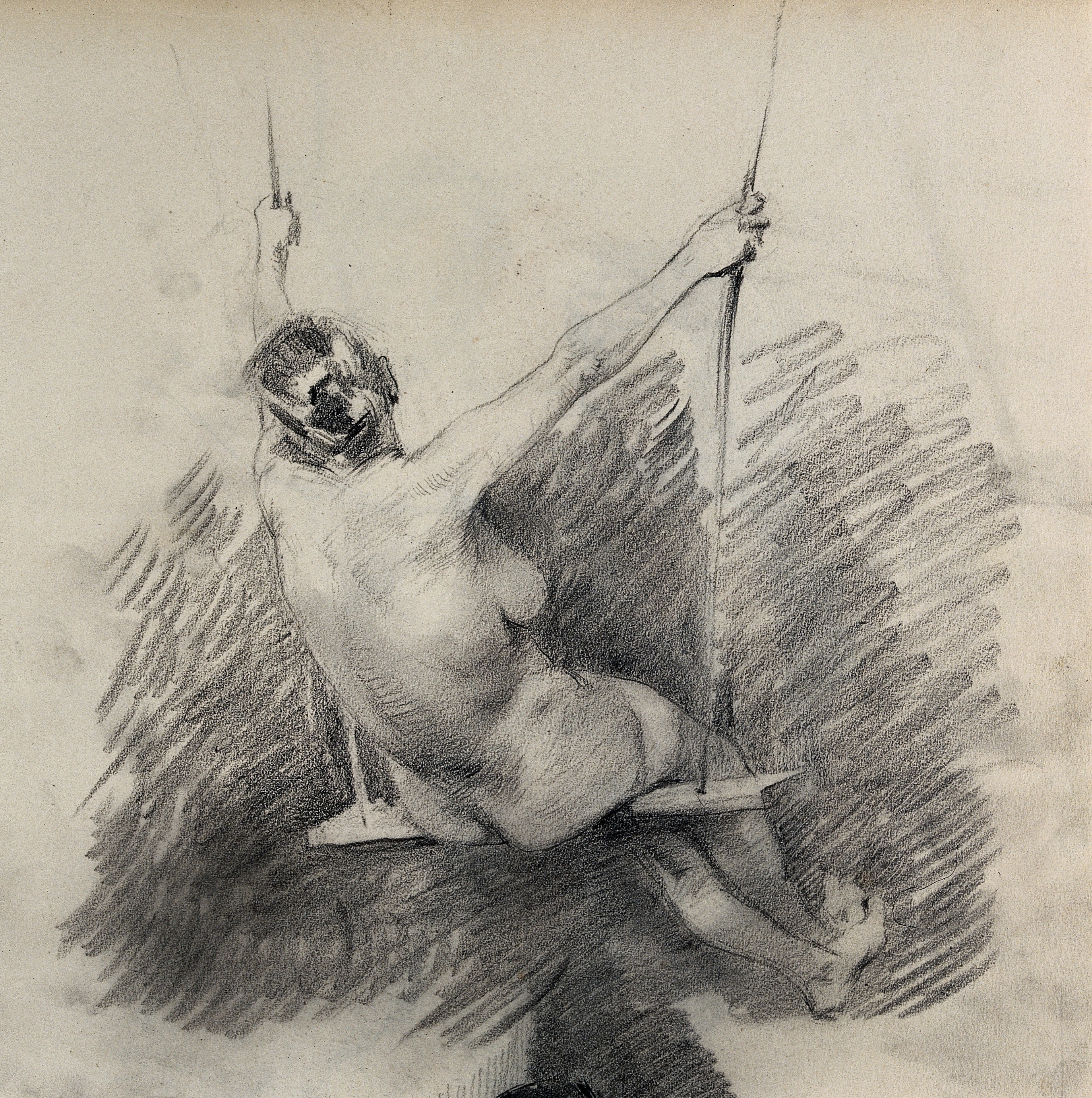 Filea female nude sitting on a swing seen from behind pencil wellcome v0049003 jpg