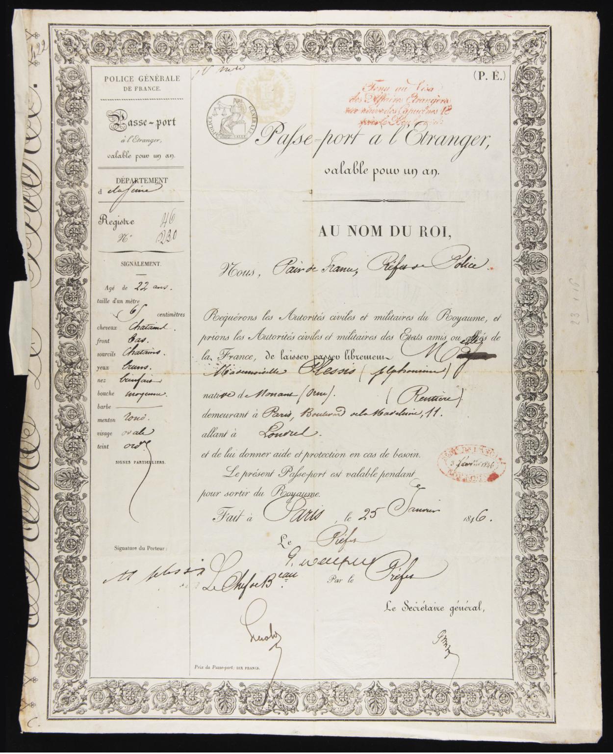 alphonsine plessis passport 1846.jpg