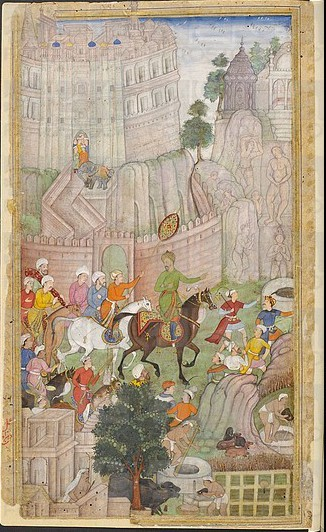 Babur encounters the Jain statues at the Urvah valley in Gwalior in 1527. He ordered them to be destroyed Babur visiting the Urvah valley in Gwalior 1.jpg