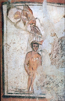 Representation of baptism in early Christian art.