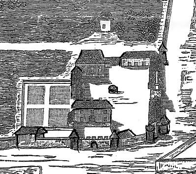 Gravure du château de Bondaroy (ancienne province de l'Orléanais) en 1710, d'après le plan dressé par le géographe Jean Lofficial.