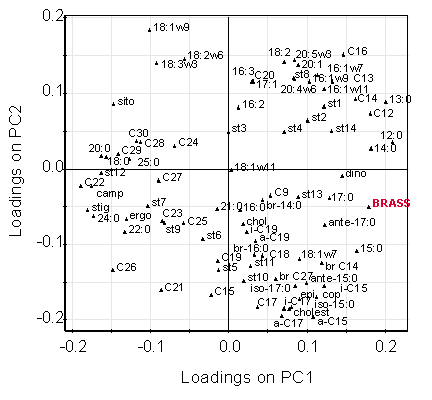 Principal Component Analysis of several lipid biomarkers from the Mawddach Esturay - brassicasterol is highlighted in red