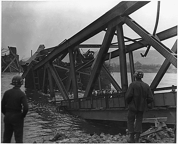 The bridge after its collapse