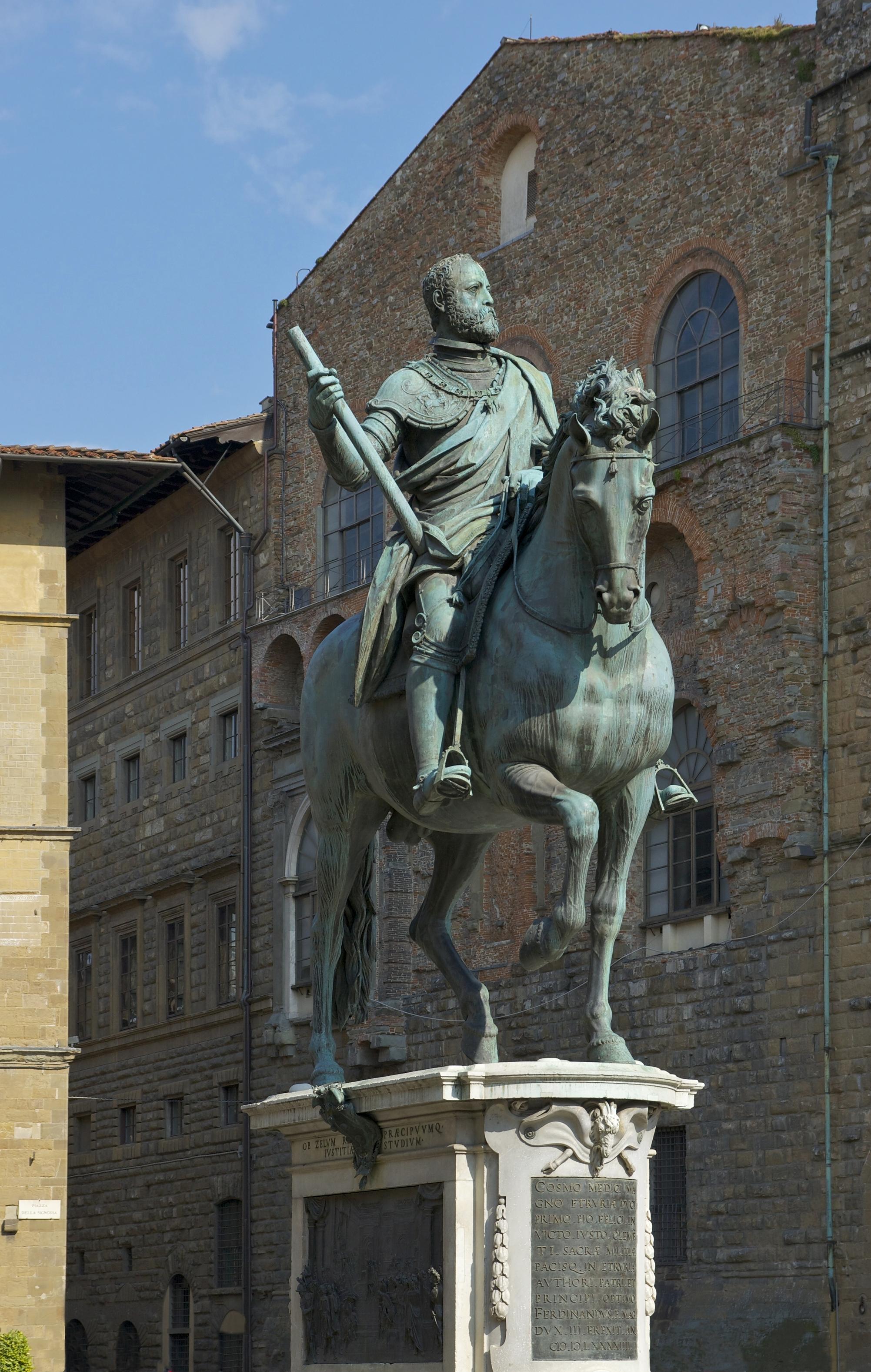 La statua equestre di Cosimo de Medici, Granduca di Toscana, di Jean de Bologne, Piazza della Signoria, Firenze