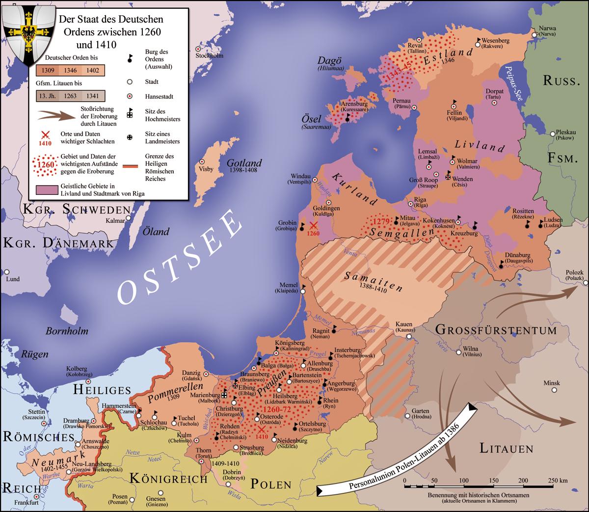 Karte des Deutschordensstaats