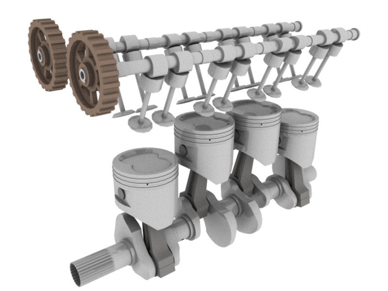 Computer generated image showing the major internal moving parts of an inline-four engine with belt-driven double overhead camshafts and 4 valves per cylinder.