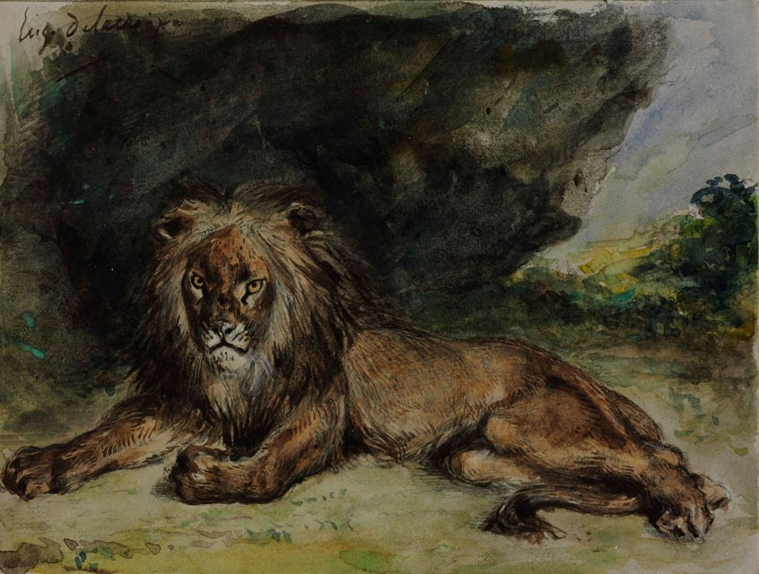 File:Eugene Delacroix, Lion, 1848-1850. Watercolour, heightened with white,  15.2 x 20.2 cm. Museum of Fine Arts, Budapest.jpg - Wikimedia Commons