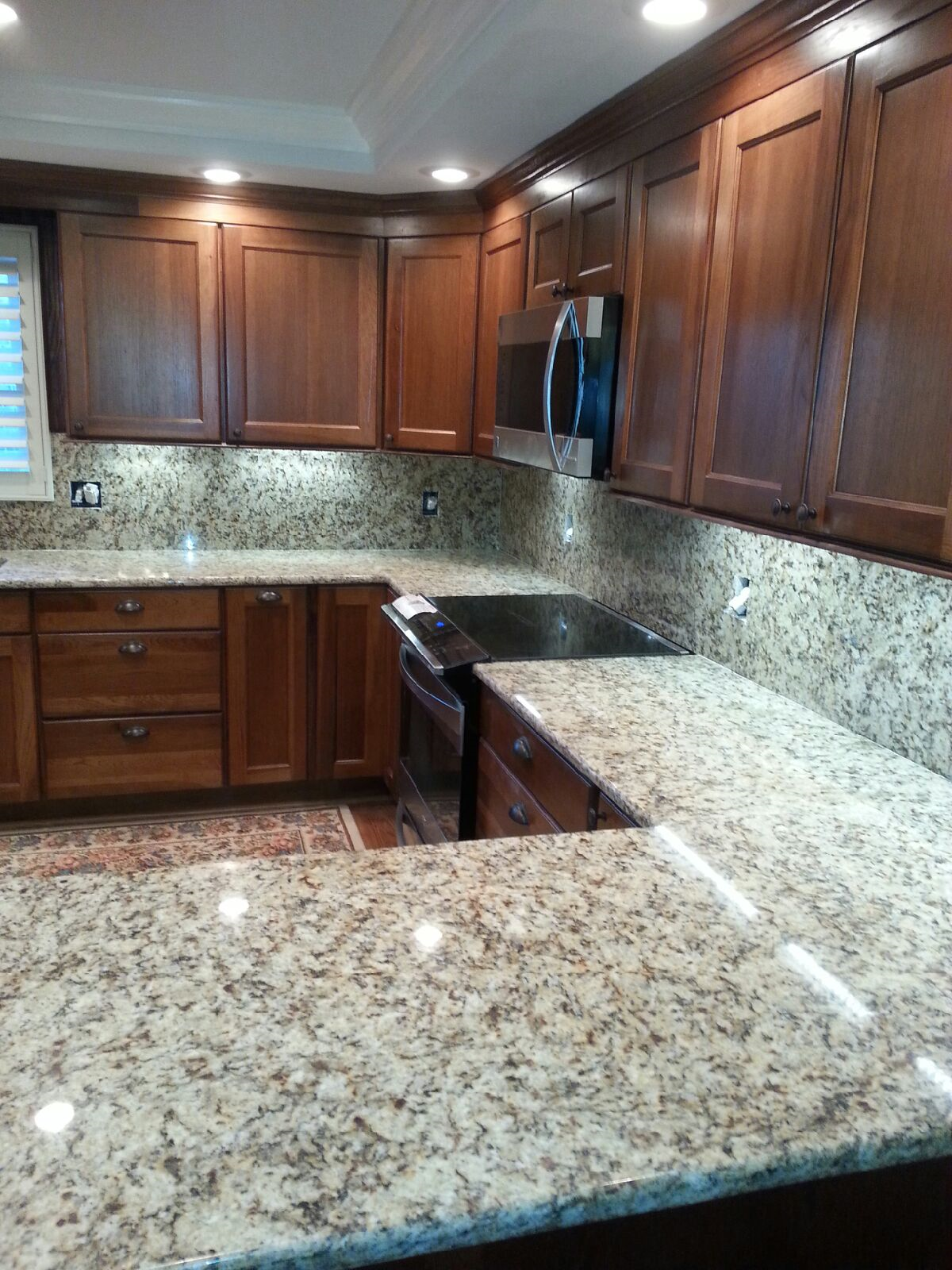 Granite Countertops On Honey Oak Kitchen