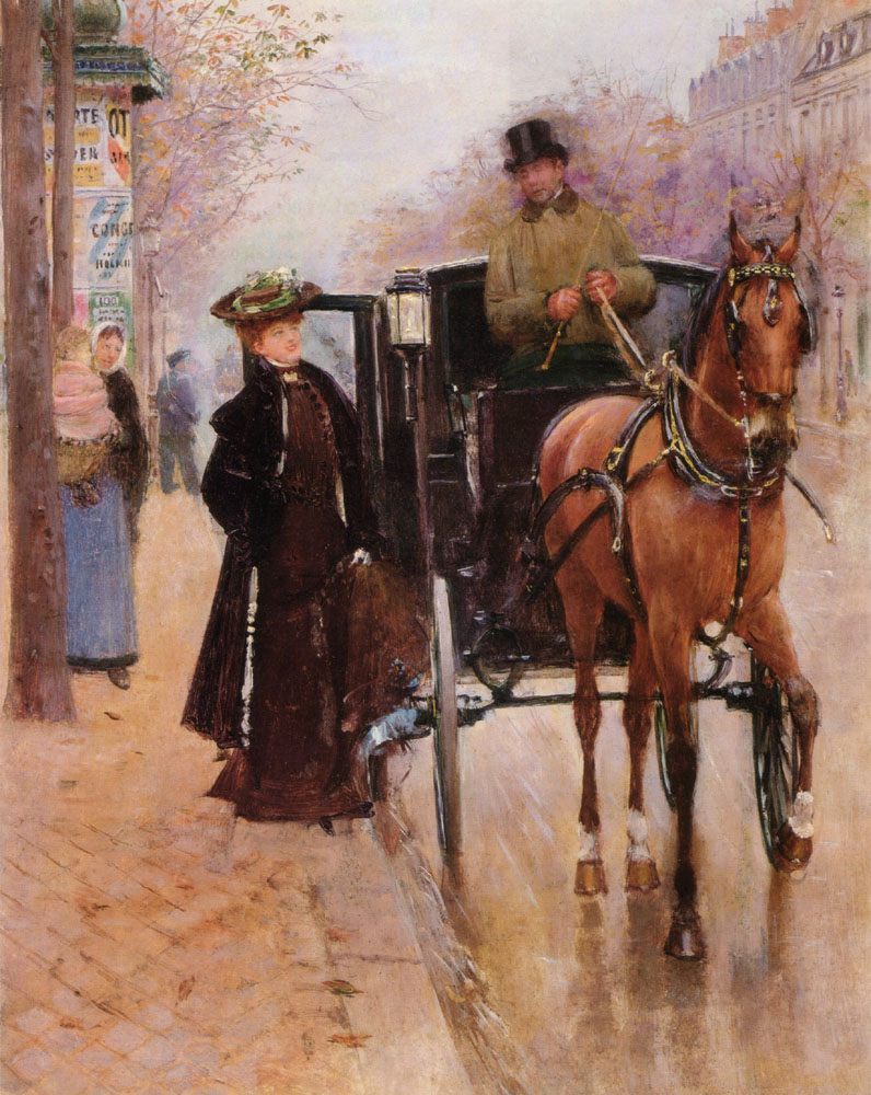 A turn-of-the-20th-century painting of a woman entering a horse-drawn taxi in Paris