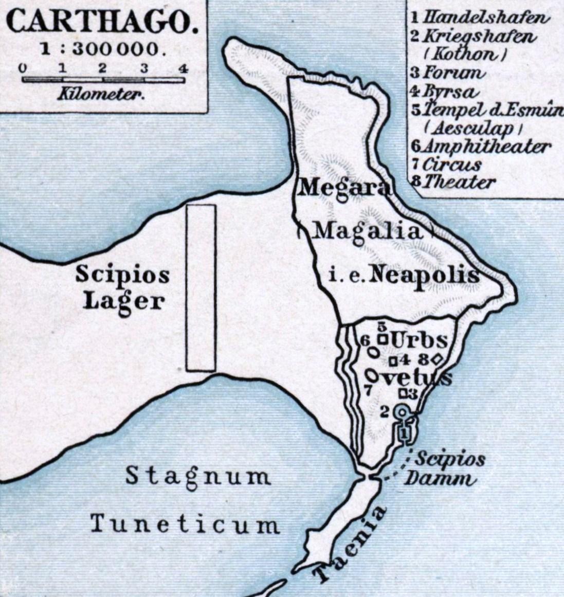Belagerung Karthagos durch Publius Cornelius Scipio Aemilianus Africanus. F. W. Putzgers Historischer Schul-Atlas, 1901