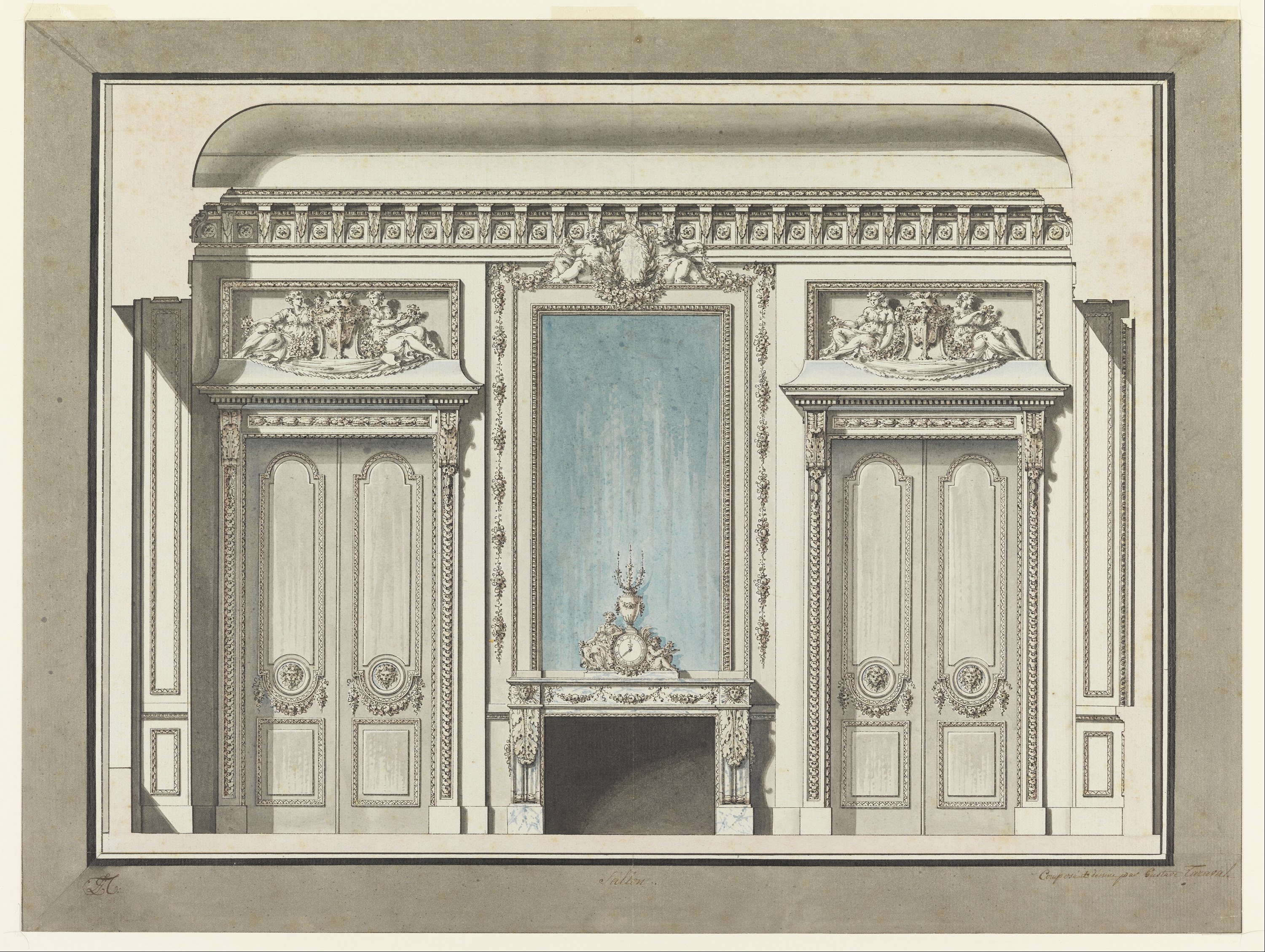 File louis gustave taraval section of a salon google for Boiserie dwg
