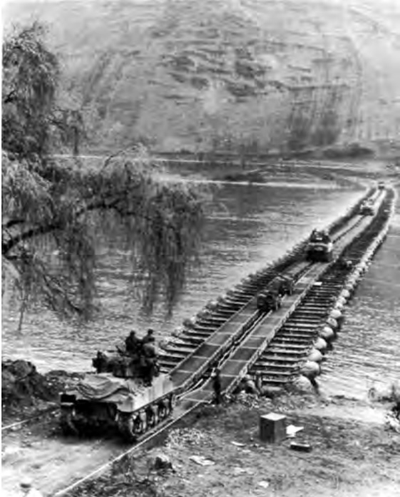 Shermans crossing the Rhine