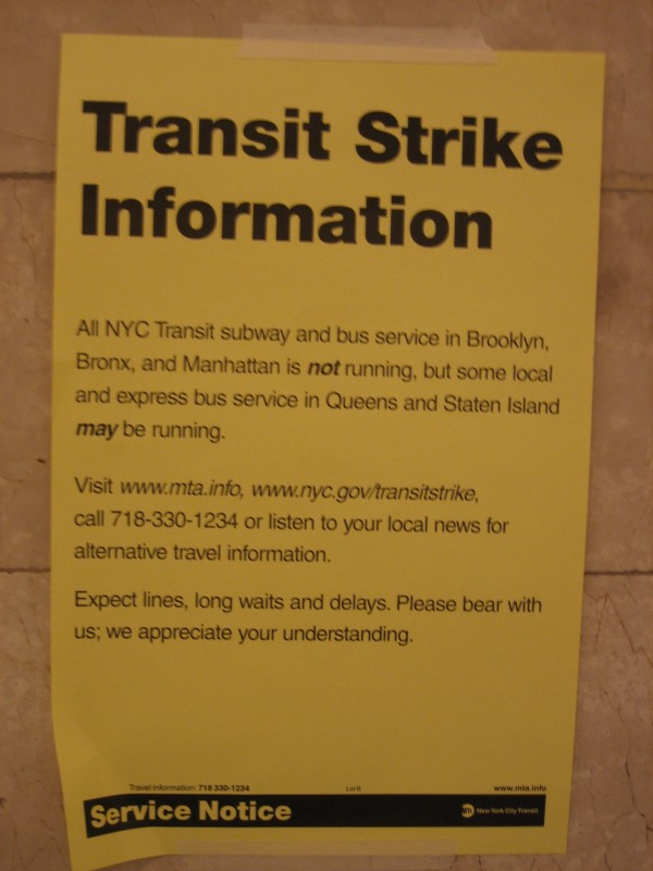 New York City Transit Strike Notice, 2005