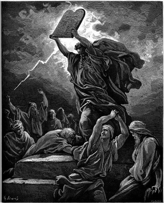 Etching of Moses holding the Ten commandments over his head as lightening flashes overhead and people flee in fear below him