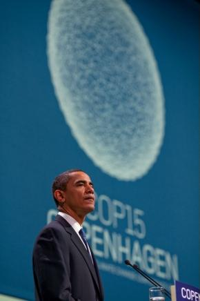 President Barack Obama delivers remarks during a morning plenary session of the United Nations Climate Change Conference at the Bella Center in Copenhagen, Denmark, December 18, 2009.