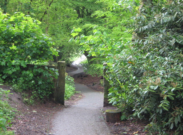 Old stone gateway and path - geograph.org.uk - 1385074