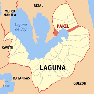 Map of Laguna showing the location of Pakil