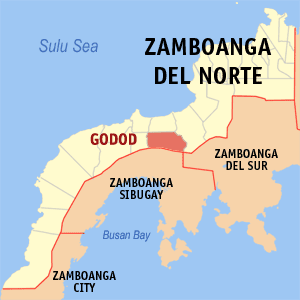 Map of Zamboanga del Norte showing the location of Godod