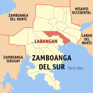 Map of Zamboanga del Sur showing the location of Labangan