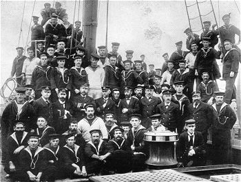 The crew of HMCS Protector in 1900. In the same year, the gunboat was sent to China by the South Australian government. Protector crew.jpg