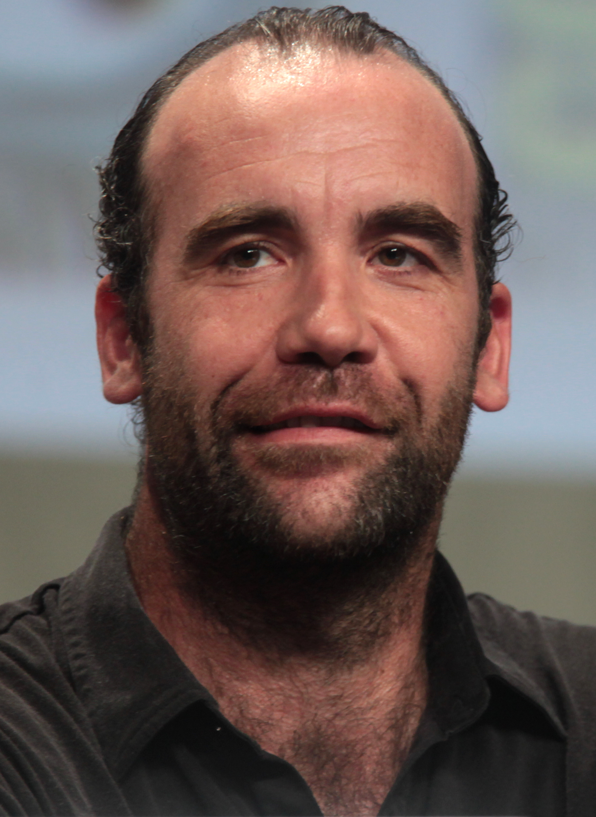 The 49-year old son of father (?) and mother(?), 198 cm tall Rory McCann in 2018 photo