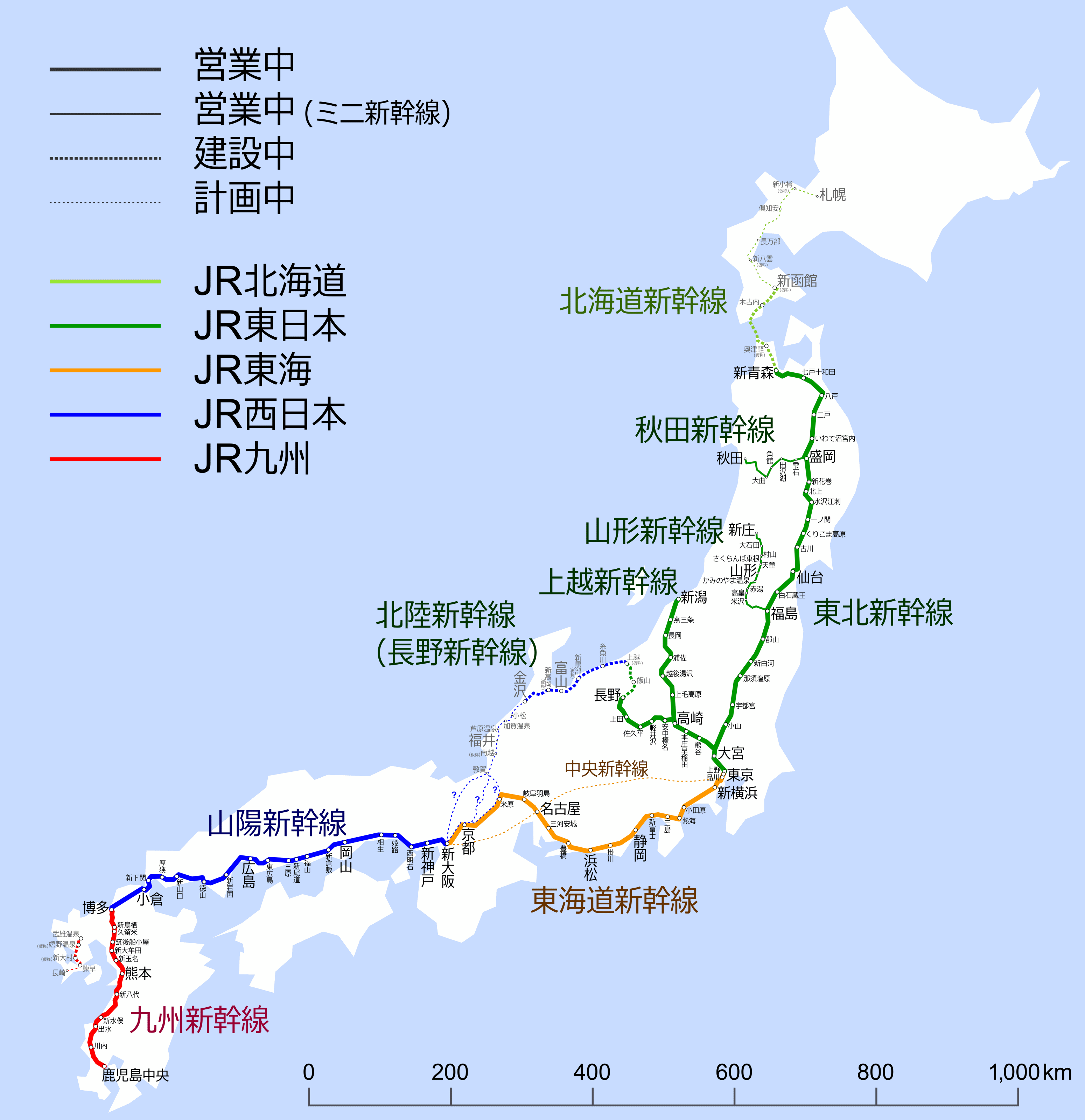 Japan Shinkansen Map
