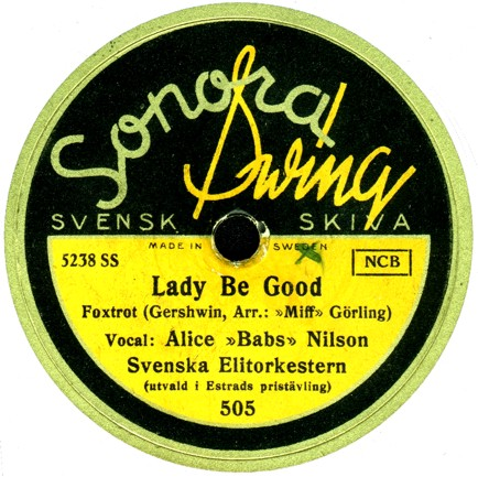Recording of Alice Babs produced by the Swedish record label Sonora. Sonora505.jpg