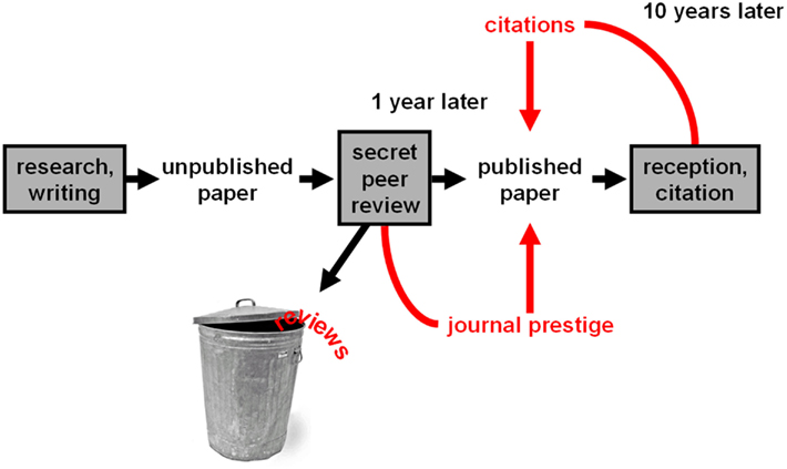 Flow Chart Writing: The current academic publishing system - fncom-06-00079-g001 ,Chart