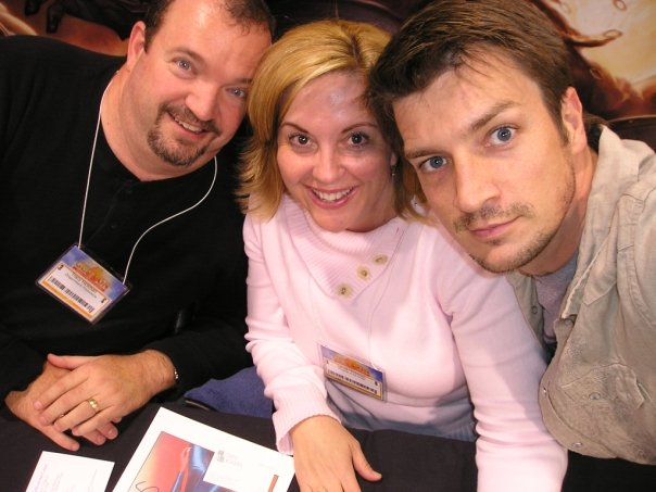 Tracy Hickman with Nathan Fillion and Laura Hickman.jpg