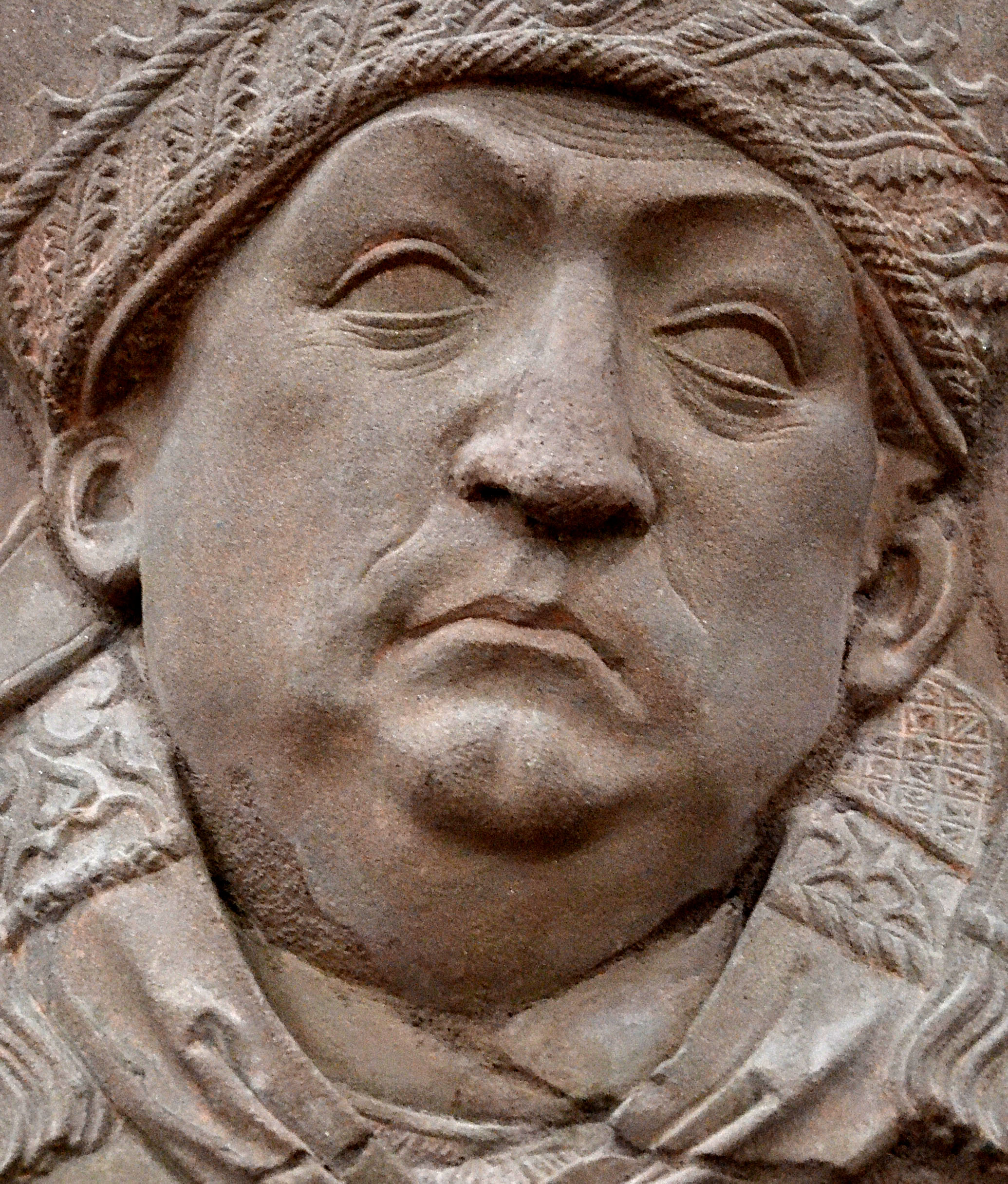 Detail of Tomb Relief of Johannes Trithemius by [[Tilman Riemenschneider]]