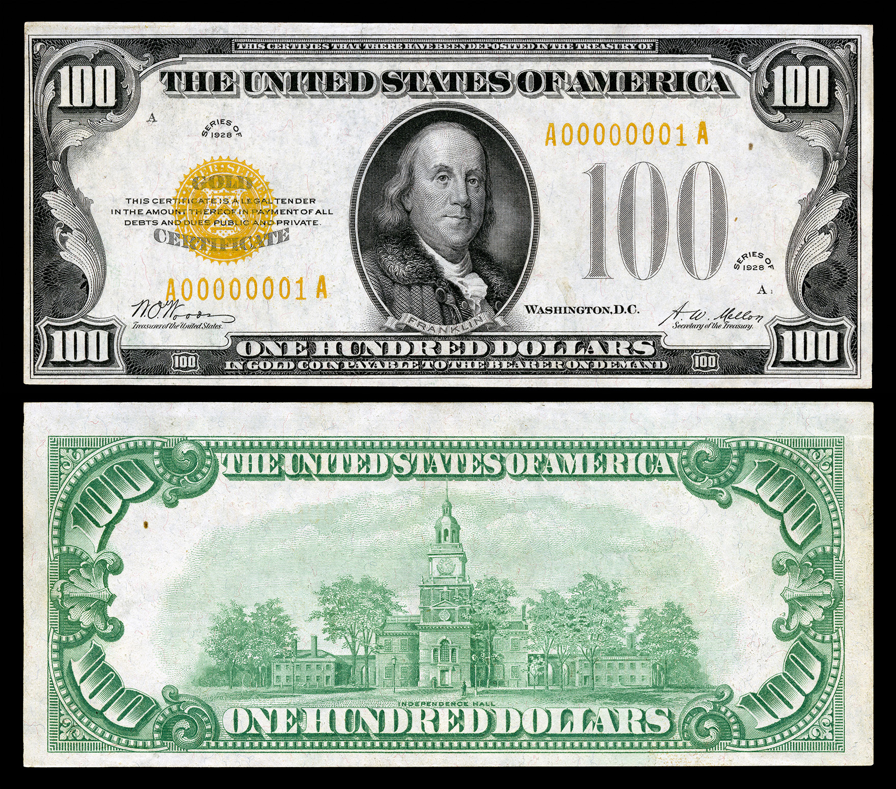 Series of 1928 united states currency wikipedia 100 gold certificate series 1928 fr2405 depicting benjamin franklin xflitez Gallery