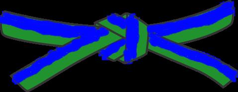 File:Universal Taekwondo UTD Mochi696 blue green belt svg.png