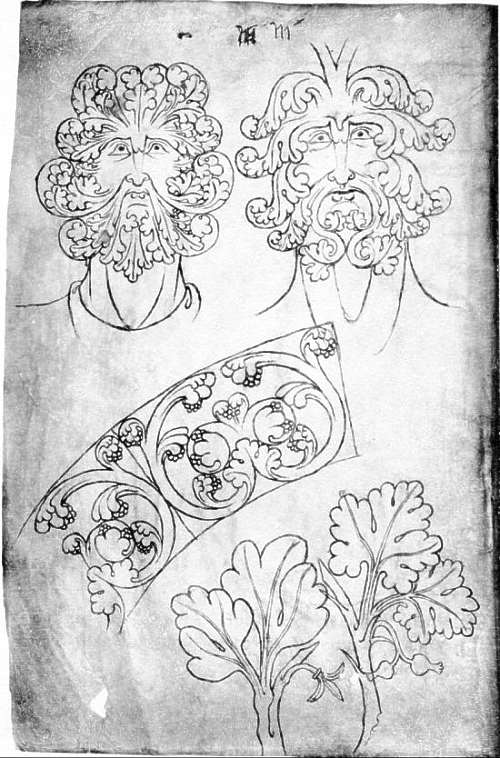 13th century foliate faces from the portfolio of Villard de Honnecourt.