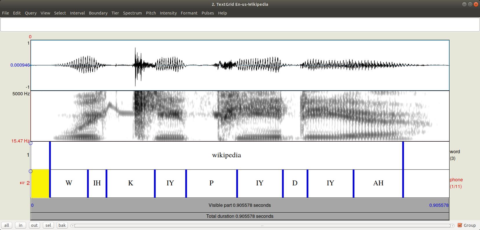 "Spoken ""Wikipedia"" represented as a waveform"