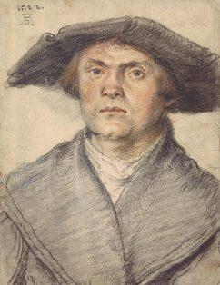 Wolf Huber-Zeichnungen-Maennliches Bildnis mit Schaube und breitkrempigem Hut-1522