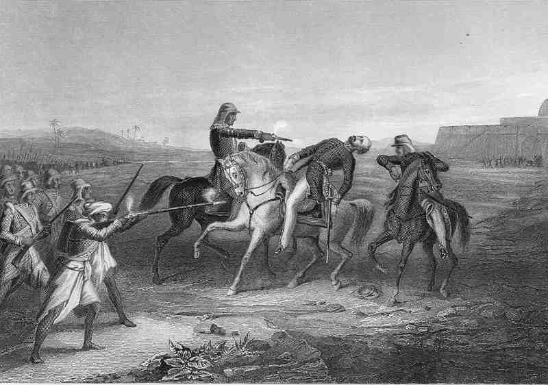 """""""Colonel Platt killed by the mutineers at Mhow,"""" from 'The History of the Indian Mutiny"""