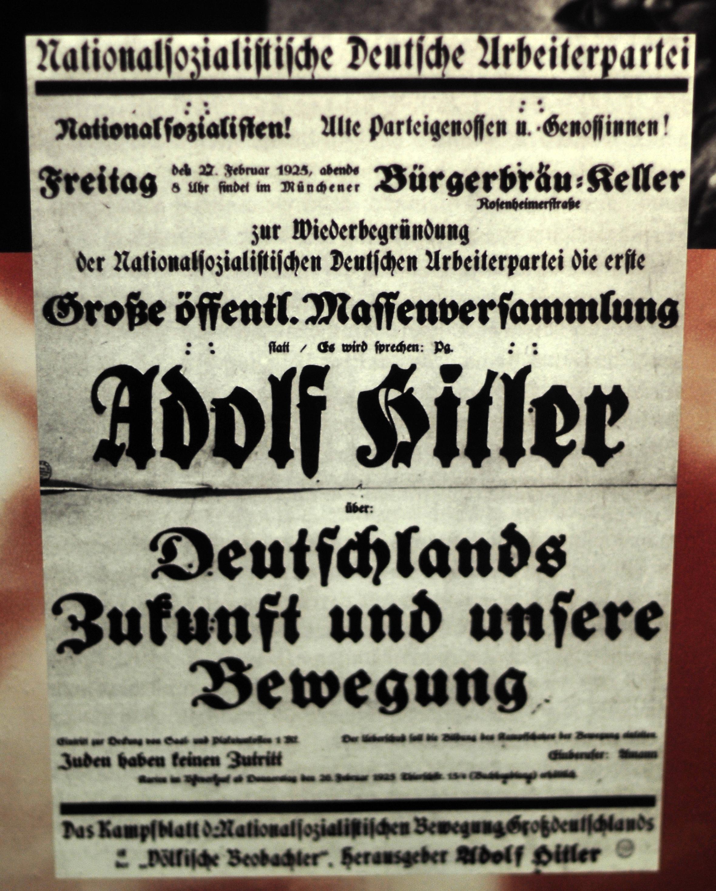 Veranstaltungsplakat zur Wiedergründung der NSDAP, München, Februar 1925