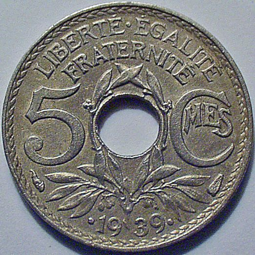 5 French centimes 1939