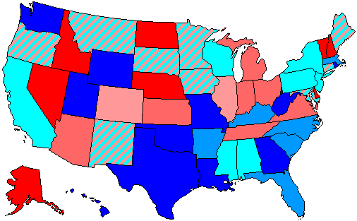 House seats by party holding plurality in state     80.1–100% Democratic    80.1–100% Republican     60.1–80% Democratic    60.1–80% Republican     up to 60% Democratic    up to 60% Republican
