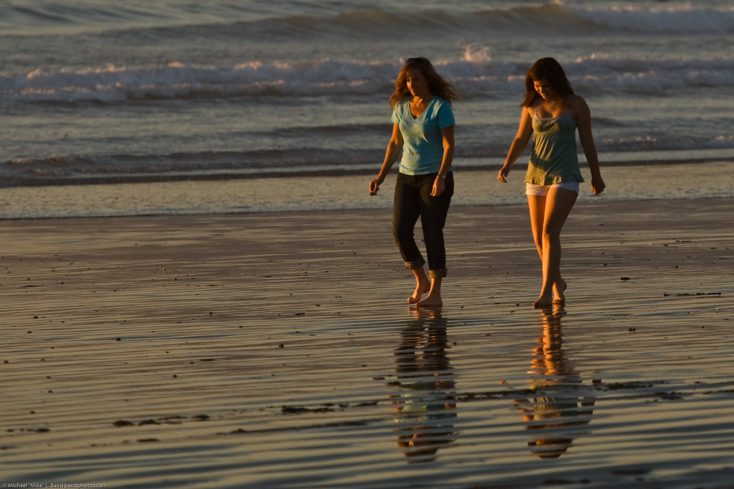 file a mother daughter team presumably walk barefoot together on